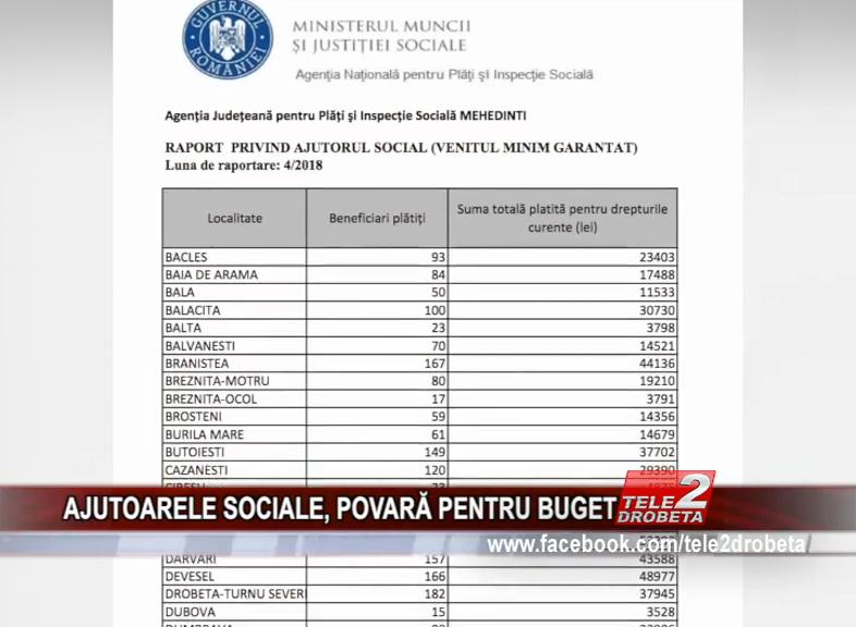 AJUTOARELE SOCIALE, POVARĂ PENTRU BUGET