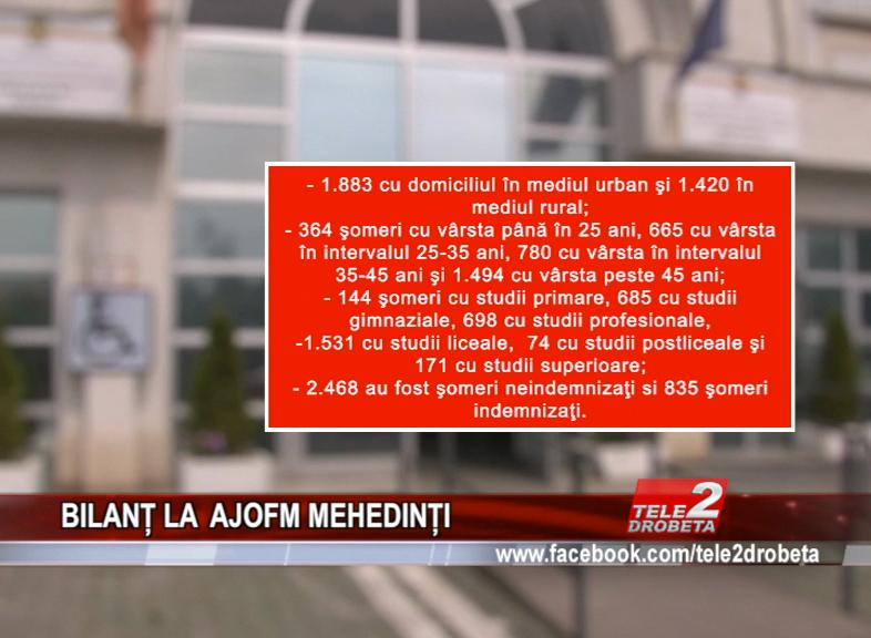 BILANȚ LA A.J.O.F.M. MEHEDINȚI