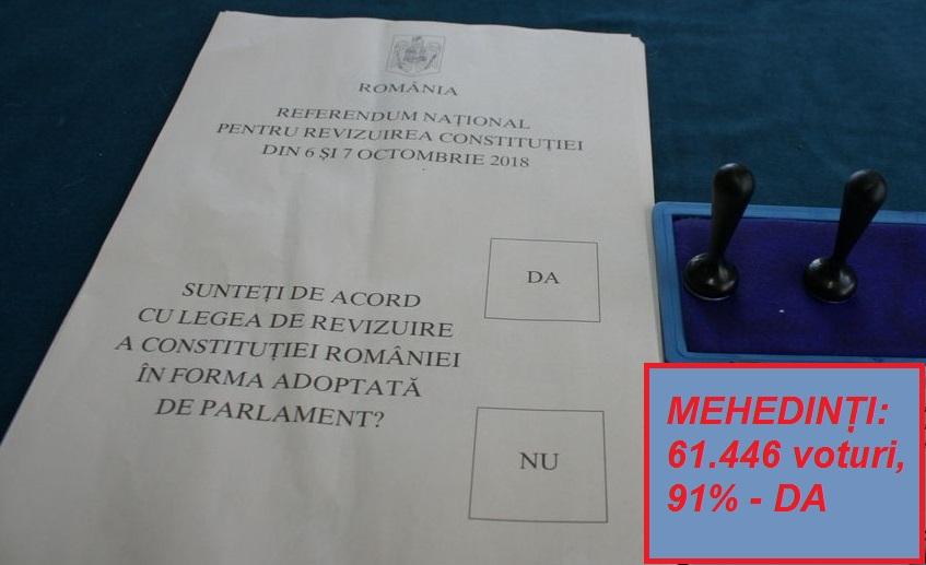 """PROCENT MASIV ÎN FAVOARE REVIZUIRII CONSTITUȚIEI, LA MEHEDINȚI: 92 LA SUTĂ """"DA""""!"""