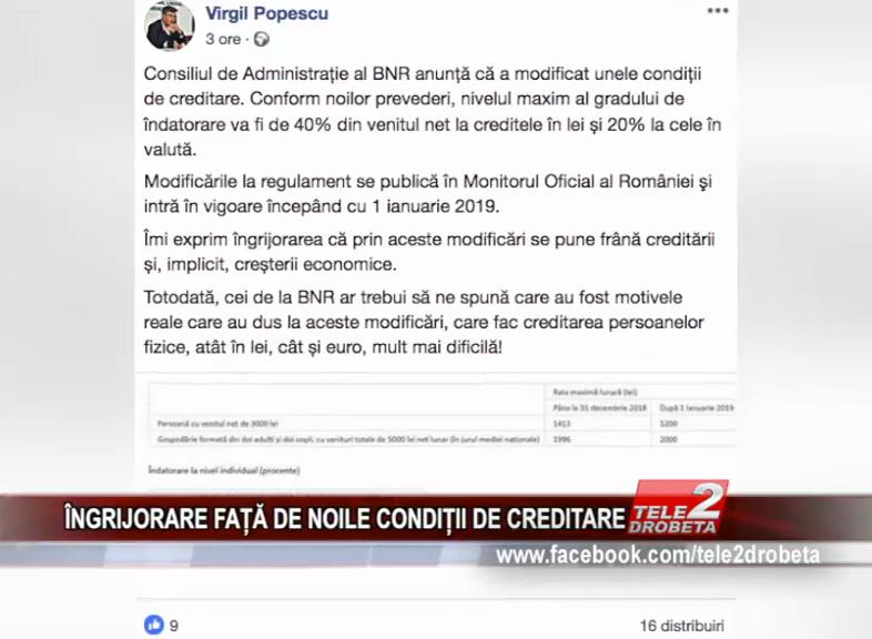 ÎNGRIJORARE FAȚĂ DE NOILE CONDIȚII DE CREDITARE