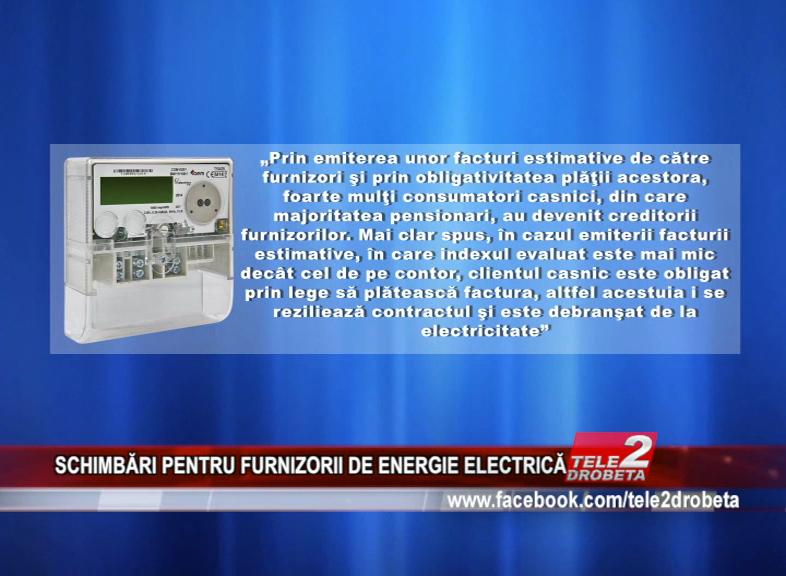 SCHIMBĂRI PENTRU FURNIZORII DE ENERGIE ELECTRICĂ