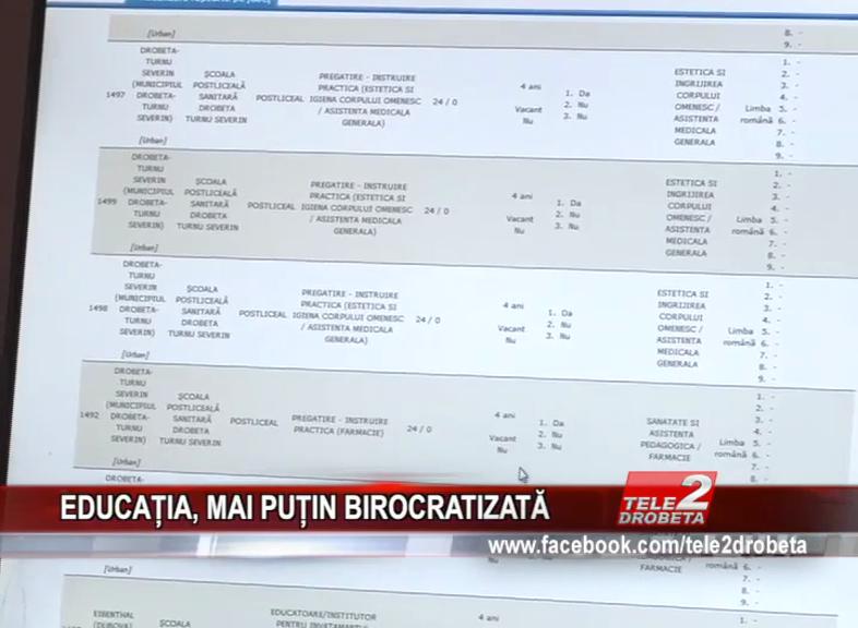 EDUCAȚIA, MAI PUȚIN BIROCRATIZATĂ