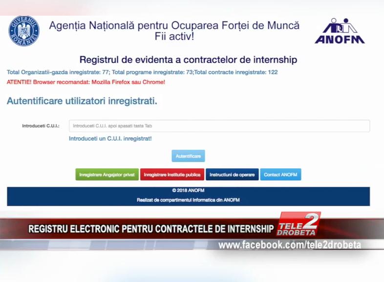 REGISTRU ELECTRONIC PENTRU CONTRACTELE DE INTERNSHIP