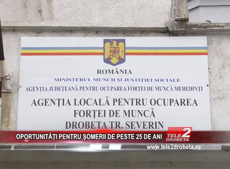 OPORTUNITĂȚI PENTRU ȘOMERII DE PESTE 25 DE ANI