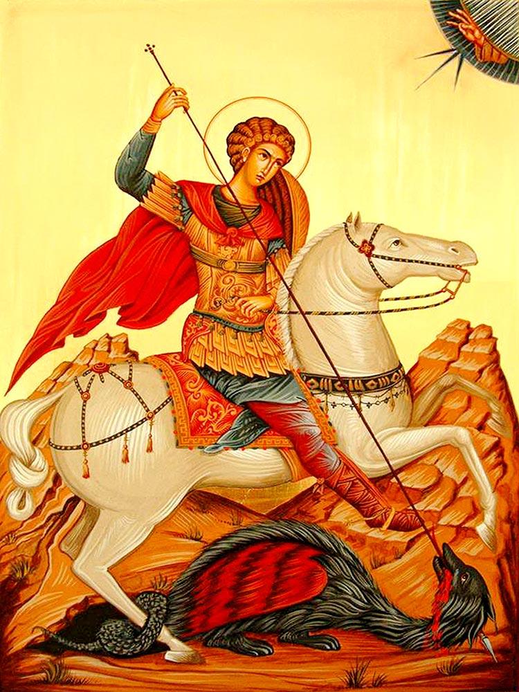 Sfântul Gheorghe – sărbătorit pe 29 aprilie; ziua de 23 aprilie coincide cu Sfânta şi Marea Marţi din Săptămâna Pătimirilor