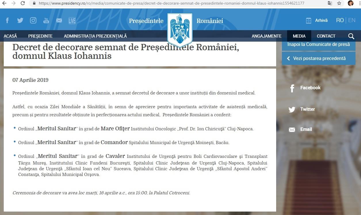 SPITALUL DIN ORȘOVA, DECORAT DE PREȘEDINTE