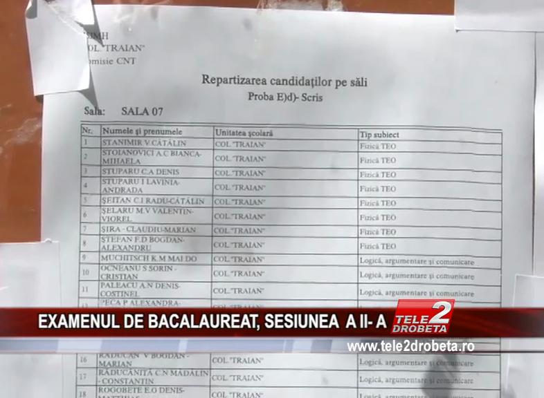 EXAMENUL DE BACALAUREAT, SESIUNEA A II- A